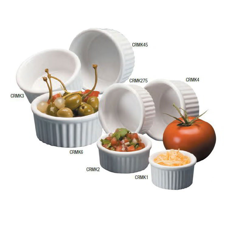 American Metalcraft CRMK3 Fluted Ramekin w/ 3-oz Capacity, Ceramic/White
