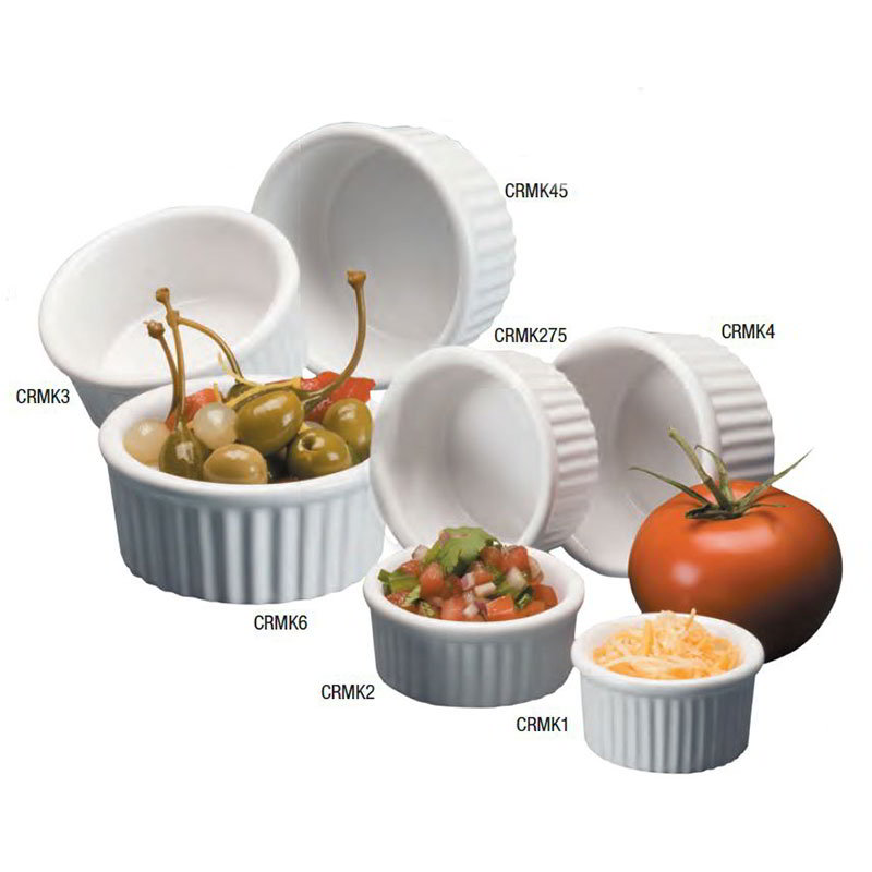 American Metalcraft CRMK4 Fluted Ramekin w/ 4-oz Capacity, Ceramic/White