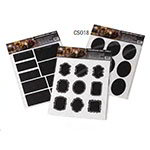 American Metalcraft CSO18 Chalk Sticker Labels - Oval-Shaped, Black Vinyl