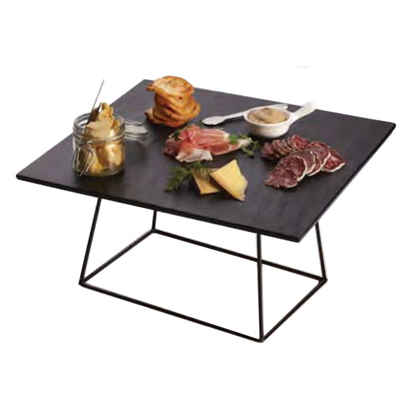 "American Metalcraft DRCKB6 7"" Rectangular Display Stand, Black Steel"