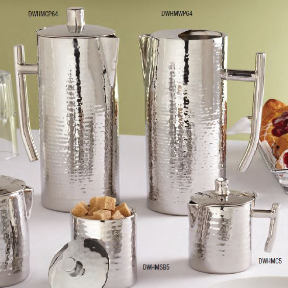 American Metalcraft DWHMCP64 Coffee Pot w/ 64-oz Capacity & Hinged Lid, Hammered, Stainless