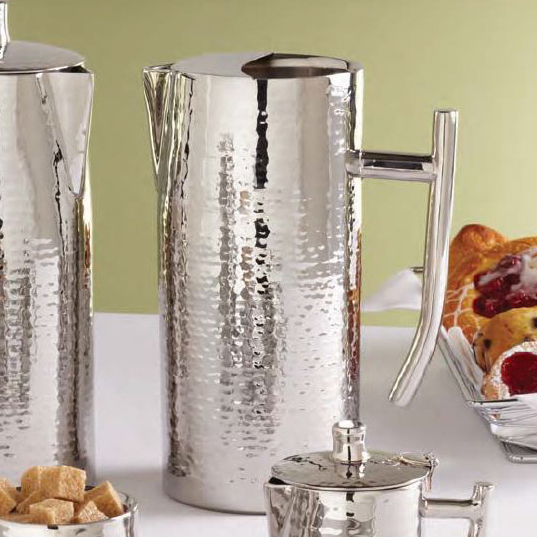 American Metalcraft DWHMWP64 Double Wall Water Pitcher w/ 64-oz Capacity & Ice Guard, Hammered, Stainless