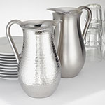 American Metalcraft DWPH64 Water Pitcher w/ 64-oz Capacity & Double Wall, Hammered, Stainless