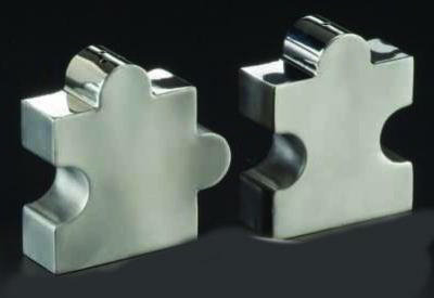 American Metalcraft DXP2 Salt & Pepper Shaker, Puzzle Shaped, Stainless Steel