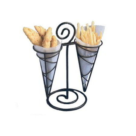 "American Metalcraft FBD1012 Ironworks French Fry Basket, 2-Cone Center Handle, 6.25"" X 12.25""H, Black"