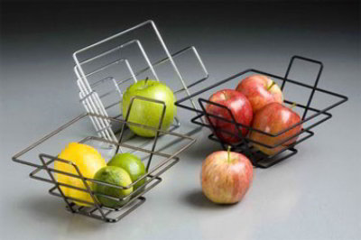 American Metalcraft FRUC13 Square Shape Basket, 7 in sq. x 4-1/2 in H, Wire, Chrome Finish