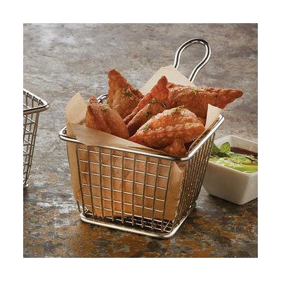 """American Metalcraft FRYS443 4"""" Square Tabletop Fry Basket, Stainless"""