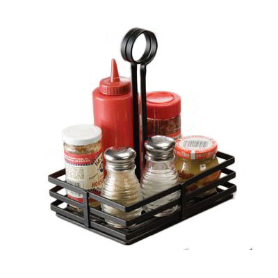 American Metalcraft FWC68 Flat Condiment Basket w/ Slotted Handle, Black