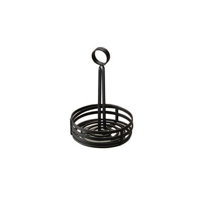 "American Metalcraft FWC69 6"" Flat Condiment Basket w/ Slotted Handle, Black"