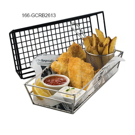 American Metalcraft GCRB2613 Rectangular Tabletop Basket, Black