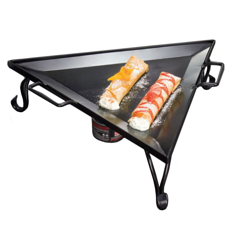 "American Metalcraft GST77 19.5"" Triangular Griddle w/ Stand, Wrought Iron/Black"
