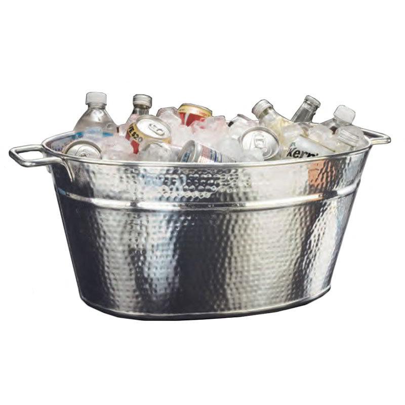"American Metalcraft HMDOB19149 13.5"" x 19.5"" Party Tub, Hammered, Stainless"