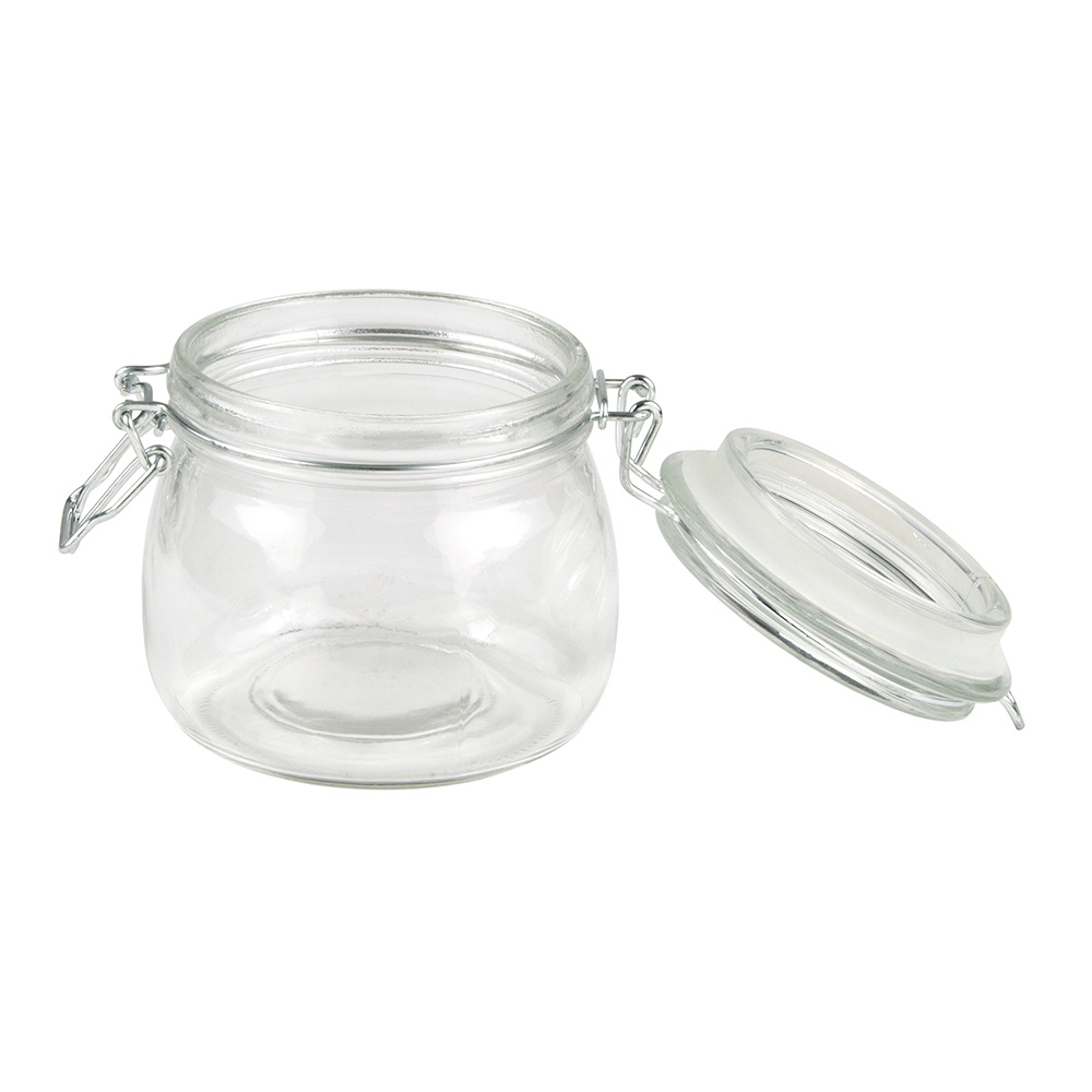American Metalcraft HMJ4 16-oz Mason Jar with Hinged Lid - Glass