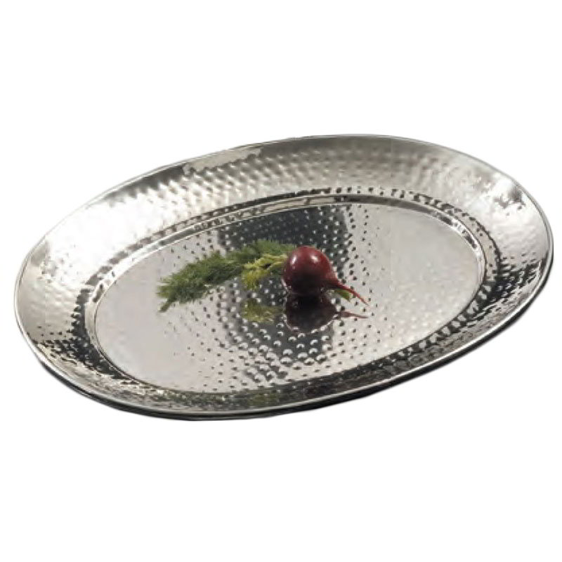 American Metalcraft HMOST1317 Oval Serving Tray, 13.25x17.25-in, Hammered, Stainless