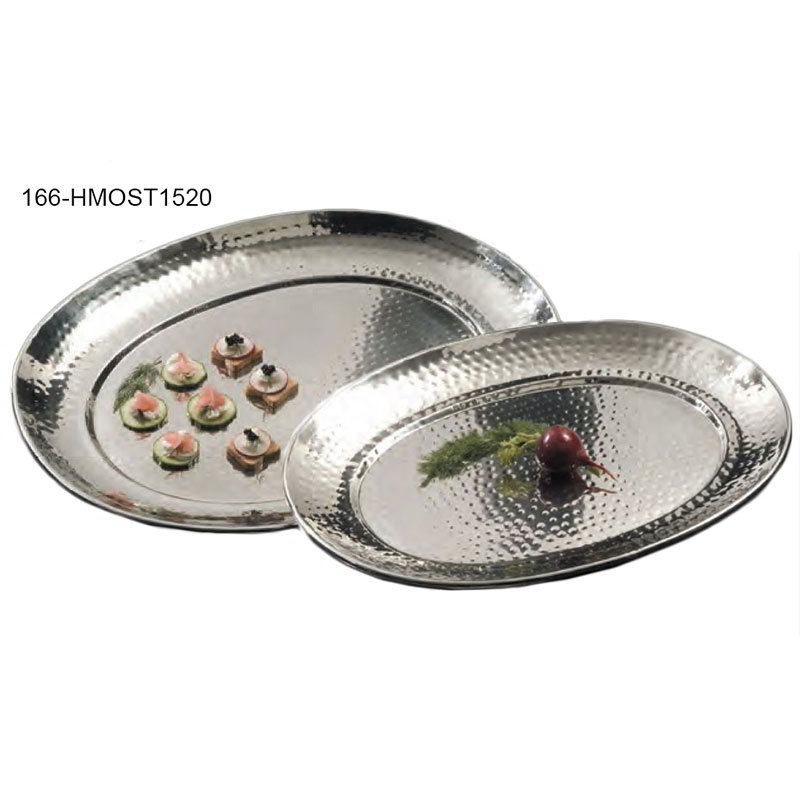 "American Metalcraft HMOST1520 Oval Serving Tray, 15.5x20"", Hammered, Stainless"