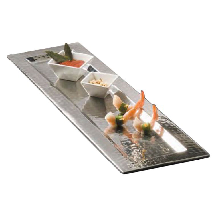 "American Metalcraft HMRT247 Rectangular Serving Tray, 23.75x7.5"", Hammered, Stainless"