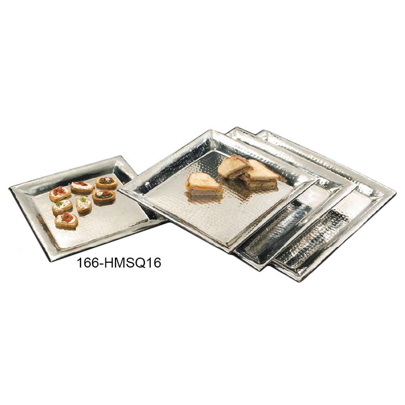 American Metalcraft HMSQ16 Square Serving Tray, 16x16-in, Hammered, Stainless