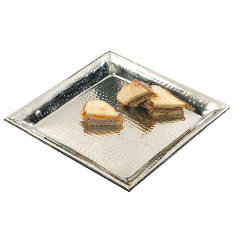 American Metalcraft HMSQ18 Square Serving Tray, 18x18-in, Hammered, Stainless