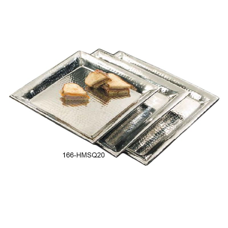 "American Metalcraft HMSQ20 Square Serving Tray, 20x20"", Hammered, Stainless"