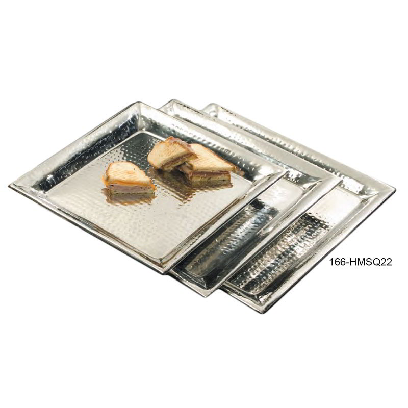 "American Metalcraft HMSQ22 Square Serving Tray, 22x22"", Hammered, Stainless"