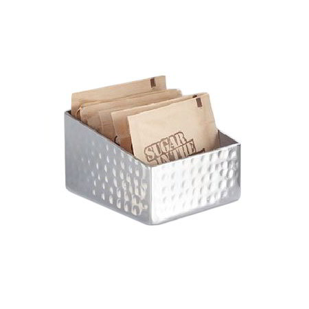 American Metalcraft HMSRSPH3 Rectangular Sugar Packet/Cube Holder, Hammered, Stainless