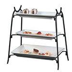 American Metalcraft IS14 3-Tier Large Platter Stand w/ Curled Feet, Holds 2-CER23 & 1-CER21, Wrought Iron/Black