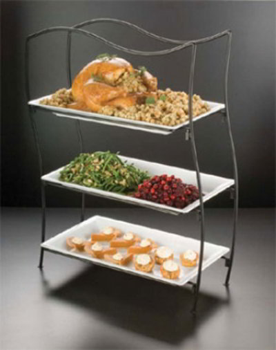 American Metalcraft IS17 Platter Stand, Large, 3 Tier, Wavy, Black Wrought Iron