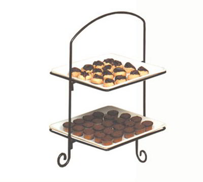 American Metalcraft IS8 Platter Stand, 2 Tier, Black Wrought Iron