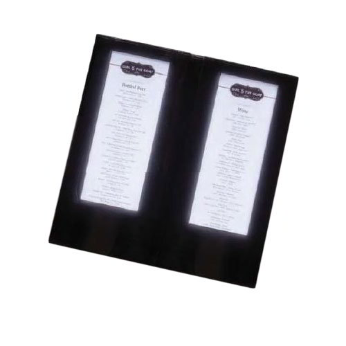 "American Metalcraft MCLDBCBL Double-Page Menu Cover - 13-3/4x6-1/2"" Black Vinyl"
