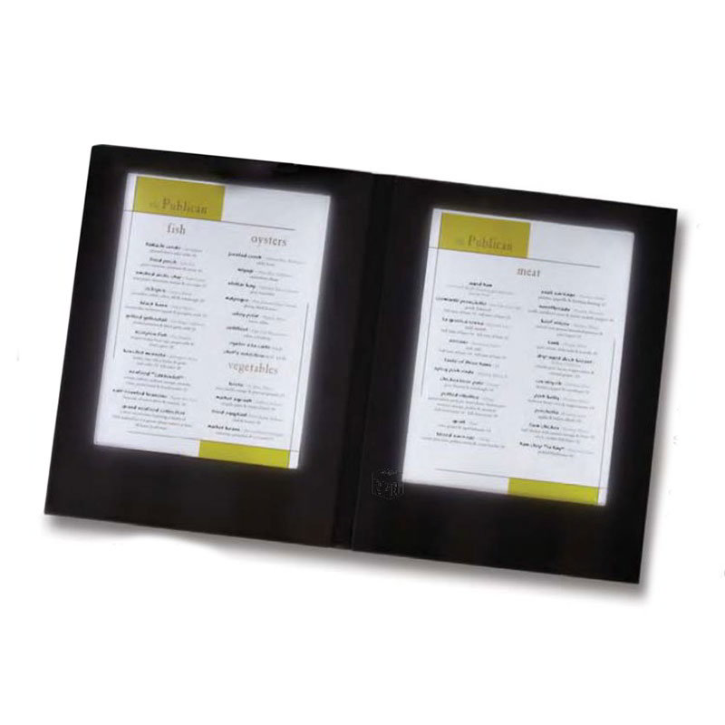 "American Metalcraft MCLDLSBL Double-Page Menu Cover - 13-3/4x10-7/8"" Black Vinyl"