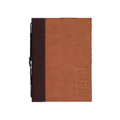 American Metalcraft MCTRLSLB Menu Cover w/ De-Bossed Lettering & 2-Page Insert, Light Brown