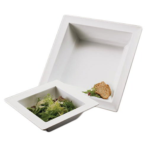 American Metalcraft MEL41 14.5-in Square Bowl, Melamine/White