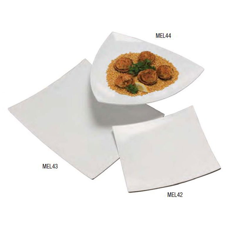 "American Metalcraft MEL43 16"" Square Plate, Melamine/White"