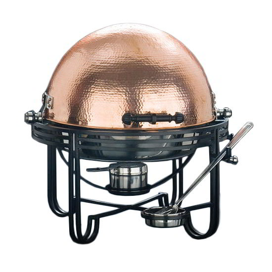 American Metalcraft MESA91C Round Roll Top Chafer Set w/ 6-qt Capacity, Wrought Iron/Copper