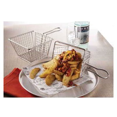 "American Metalcraft MSQBSKT 5"" Square Fry Basket, Stainless"