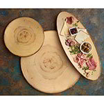 "American Metalcraft MSR14 13.5"" Round Serving Board - Rustic Wood Melamine"