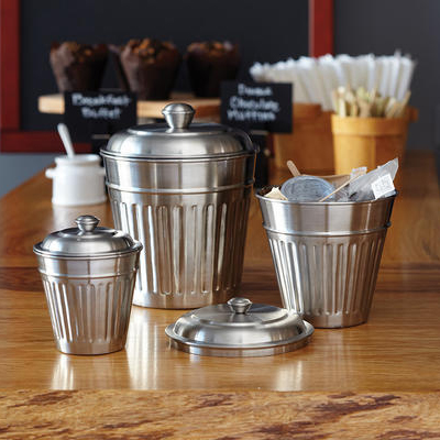 """American Metalcraft OLID 3-3/4"""" Mini Replica Trash Can Server Lid - Stainless"""