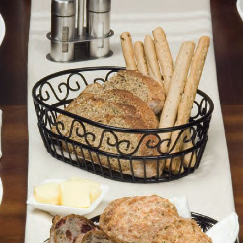 American Metalcraft OSC9 Oval Bread Basket w/ Scroll Design, Wrought Iron/Black