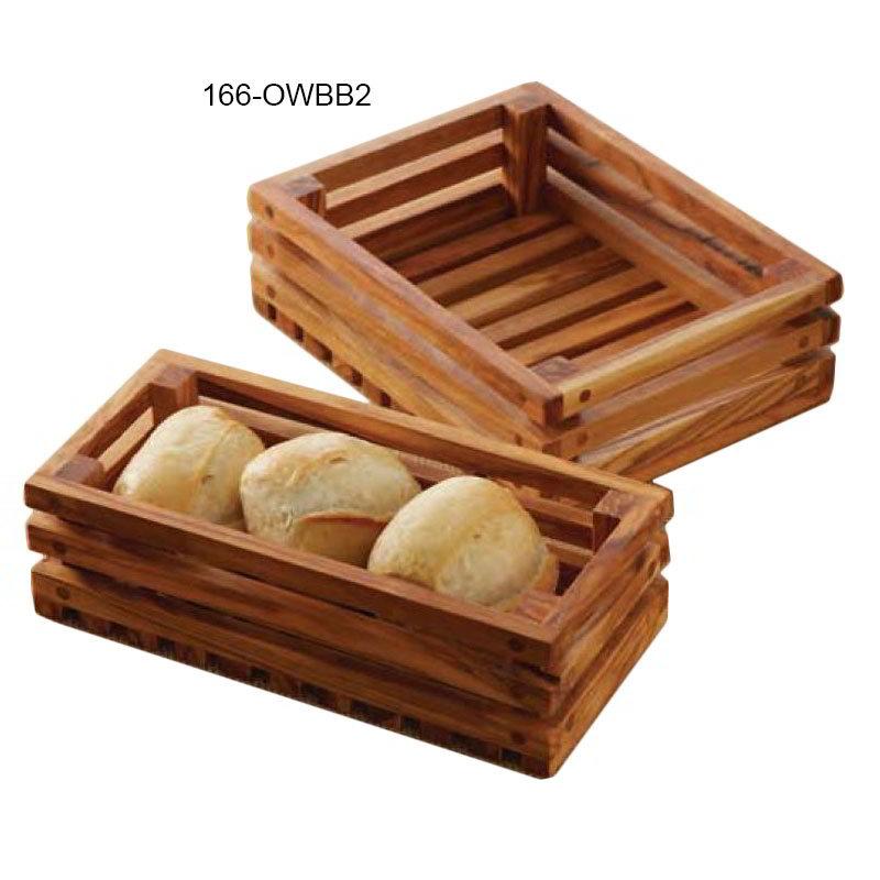 "American Metalcraft OWBB2 Rectangular Bread Crate, 8"" x 6"", Olive Wood"