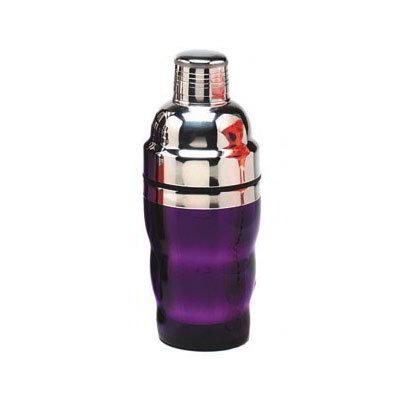 American Metalcraft PAS01 3-Piece Cocktail Shaker w/ 10-oz Capacity, Purple/Stainless