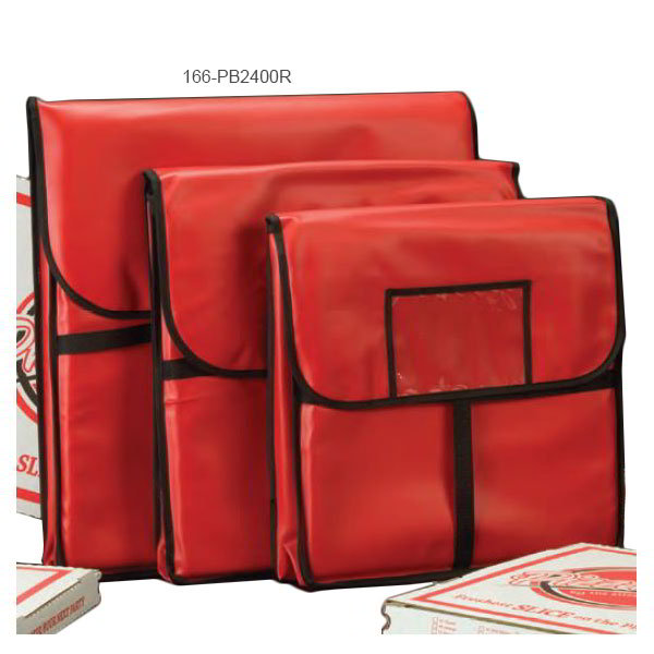 American Metalcraft PB2400 Pizza Delivery Bag 24 in x 24 in Holds Two 22 in Boxes Red Vinyl Restaurant Supply