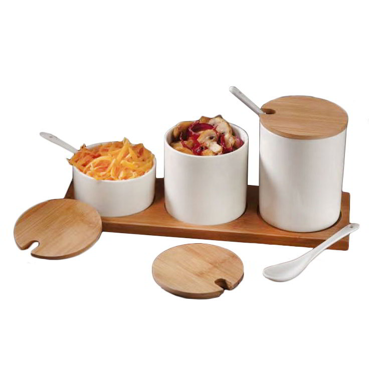 American Metalcraft PCBLS25 3-Well Canister Set with Wood Tray - White Porcelain