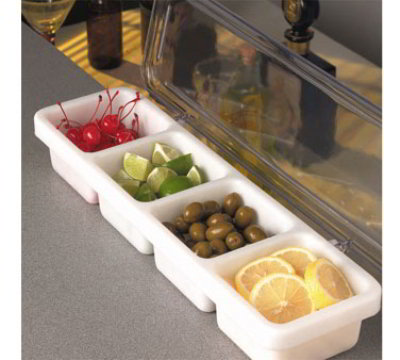 American Metalcraft PCD419 Bar Condiment Holder 18-3/4 in x 5-7/8 in x 3 in One Piece 4 Compartment Restaurant Supply