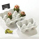 American Metalcraft PEHCT6 6-Slot Rectangular Egg Carton, Porcelain, White