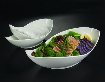 American Metalcraft PLDB92 Prestige Leaf Bowl, 13 oz, 9-1/4 in L x 3 in H, Porcelain