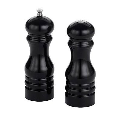 "American Metalcraft PMSBL62 6"" Wood Salt & Pepper Mill Set, Black"