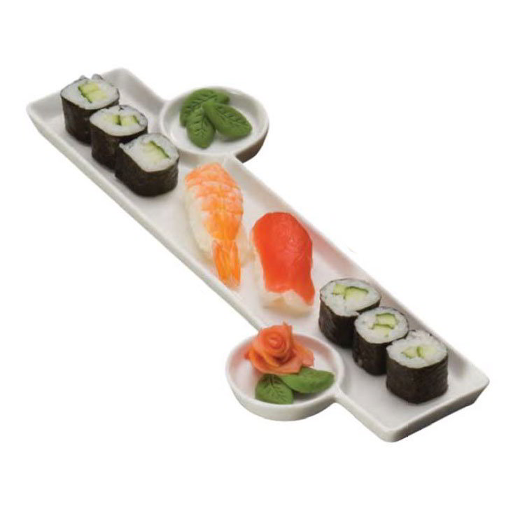American Metalcraft PORS136 Sushi Plate w/ Built-In Sauce Cup, 13x6-in, Porcelain