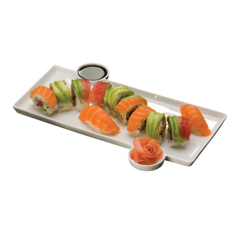"American Metalcraft PORS140 Sushi Plate w/ Built-In Sauce Cup, 13x9.3"", Porcelain"
