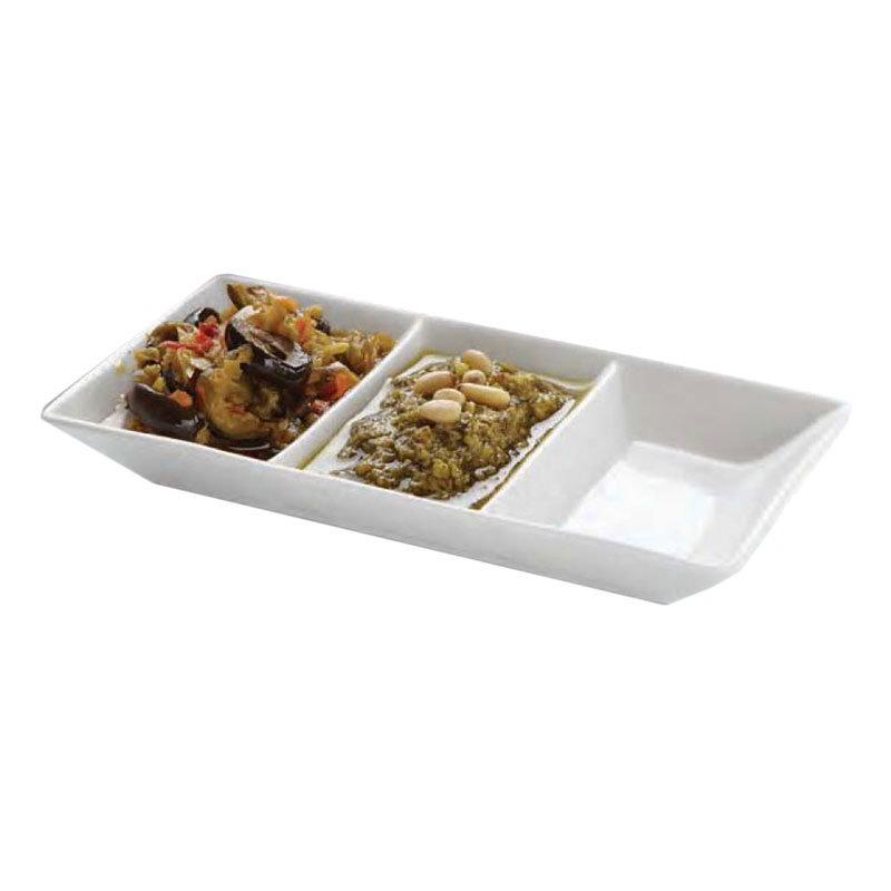 "American Metalcraft PORSD3R 3-Compartment Sauce Dish, 5.75x3.12"", Porcelain"