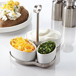 American Metalcraft PSS3 Serving Set - (3)Oval Porcelain Cups, Metal Stand